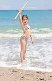 A menina na praia Fotos de Stock Royalty Free