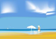 Menina na praia ilustração royalty free