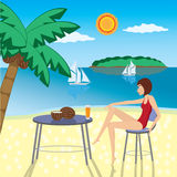 Menina na praia. Imagem de Stock