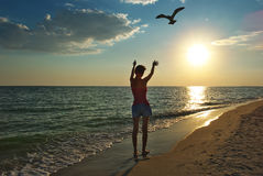 Menina na praia no por do sol Imagens de Stock