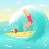 Menina na prancha com cão ilustração do vetor