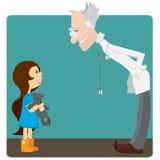 A menina na recepção no doutor ilustração stock