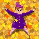 Menina na roupa brilhante que encontra-se nas folhas Ilustração do vetor Foto de Stock Royalty Free