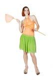 Menina na roupa brilhante que prende a rede da borboleta Fotografia de Stock Royalty Free