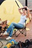 A menina na rua Imagens de Stock Royalty Free