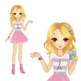 Menina na saia cor-de-rosa que guarda o café Ilustração Royalty Free