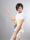 Menina na saia e nas calças de brim de turquesa Imagem de Stock Royalty Free