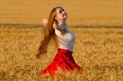 Menina na saia vermelha que gira nos braços do campo de trigo espalhados para fora Fotos de Stock