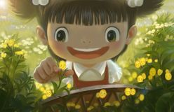 A menina nas flores ilustração royalty free