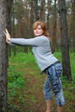 A menina nas madeiras Foto de Stock Royalty Free