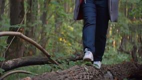 A menina nas sapatilhas brancas anda sobre uma árvore caída filme