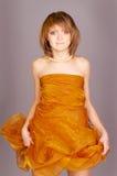 Menina no amarelo imagem de stock