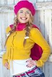 Menina no amarelo vestido queda Fotos de Stock Royalty Free