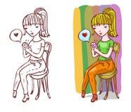 A menina no amor está escrevendo sms Foto de Stock Royalty Free