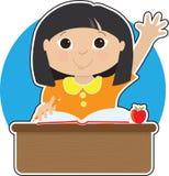 Menina no Asian da escola ilustração do vetor