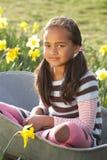 Menina no assento no Wheelbarrow no campo do Daffodil Fotos de Stock