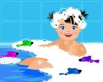 Menina no banho com espuma Fotos de Stock