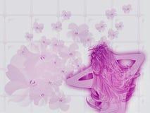 Menina no banho cor-de-rosa Imagem de Stock Royalty Free