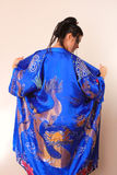 Menina no bathrobe asiático azul com dragões Imagens de Stock