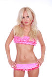 Menina no biquini cor-de-rosa imagens de stock royalty free