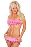 Menina no biquini cor-de-rosa fotos de stock royalty free