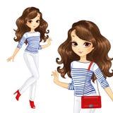Menina no branco com saco vermelho Imagens de Stock Royalty Free