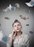 Menina no branco e no Euro Foto de Stock