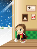 Menina no café Foto de Stock Royalty Free