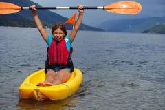 Menina no caiaque Foto de Stock Royalty Free