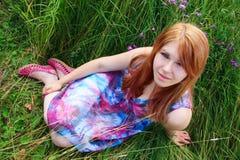 A menina no campo Foto de Stock Royalty Free