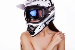A menina no capacete Foto de Stock Royalty Free