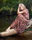 Menina no carrinho nacional do vestido na floresta Fotos de Stock Royalty Free