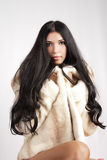 Menina no casaco de pele Fotos de Stock Royalty Free