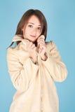 Menina no casaco de pele Imagem de Stock Royalty Free