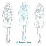 Menina no casaco de pele do inverno Imagem de Stock