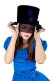 A menina no chapéu de coco e no véu Imagem de Stock Royalty Free
