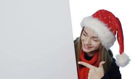 menina no chapéu de Santa video estoque