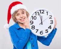 Menina no chapéu de Santa Imagens de Stock Royalty Free