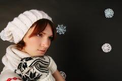 Menina no chapéu do inverno Imagens de Stock