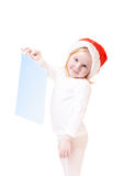 Menina no chapéu do Natal Fotografia de Stock Royalty Free