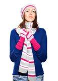 Menina no chapéu e na blusa das luvas. Imagem de Stock Royalty Free
