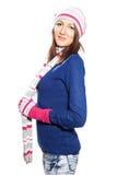 Menina no chapéu e na blusa das luvas. Imagens de Stock
