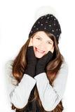 Menina no chapéu e no lenço do inverno fotos de stock royalty free