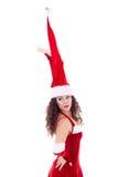 Menina no chapéu enorme de Santa imagem de stock