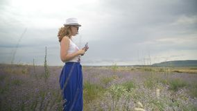 A menina no chapéu está andando em um campo da alfazema vídeos de arquivo