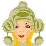 Menina no chapéu forrado a pele Fotografia de Stock Royalty Free