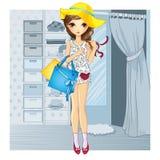 Menina no chapéu perto de sala apropriada Ilustração do Vetor