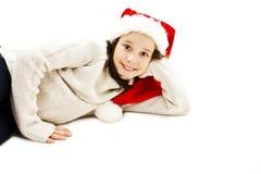Menina no chapéu vermelho de Santa foto de stock