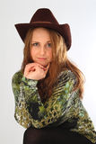 Menina no chapéu de cowboy Imagens de Stock Royalty Free