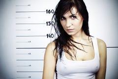 Menina no departamento da polícia Fotografia de Stock